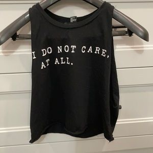 Forever 21 I do not care at all Black Tank Top